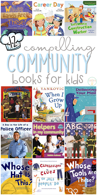 If you are planning a community theme for your classroom or homeschool, you'll definitely want to check out these great community helper picture books! Lots of great titles and ideas for incorporating comprehension and writing skills too.