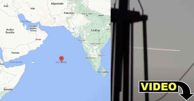 Video del momento de la caída del cohete chino en el Mar Arábigo