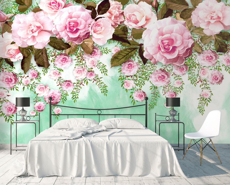 Tranh Dán Tường 3D Hoa Hồng Trang Trí Phòng Ngủ Đẹp