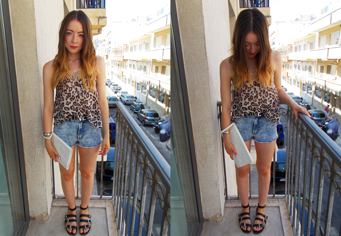 A leopard print themed outfit I wore during my travels in Malta
