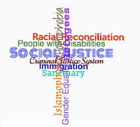 Word Cloud: Justice in the shape of a cross