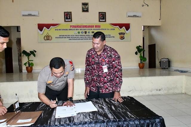 Rekrutmen Anggota Polri, Polres Aceh Timur dan Pemkab Teken MoU