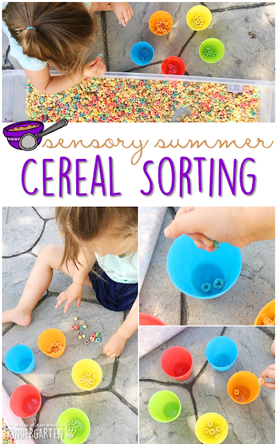 Practice fine motor skills and sorting with this cereal filled sensory bin! This is a perfect activity for summer tot school, preschool, or kindergarten!