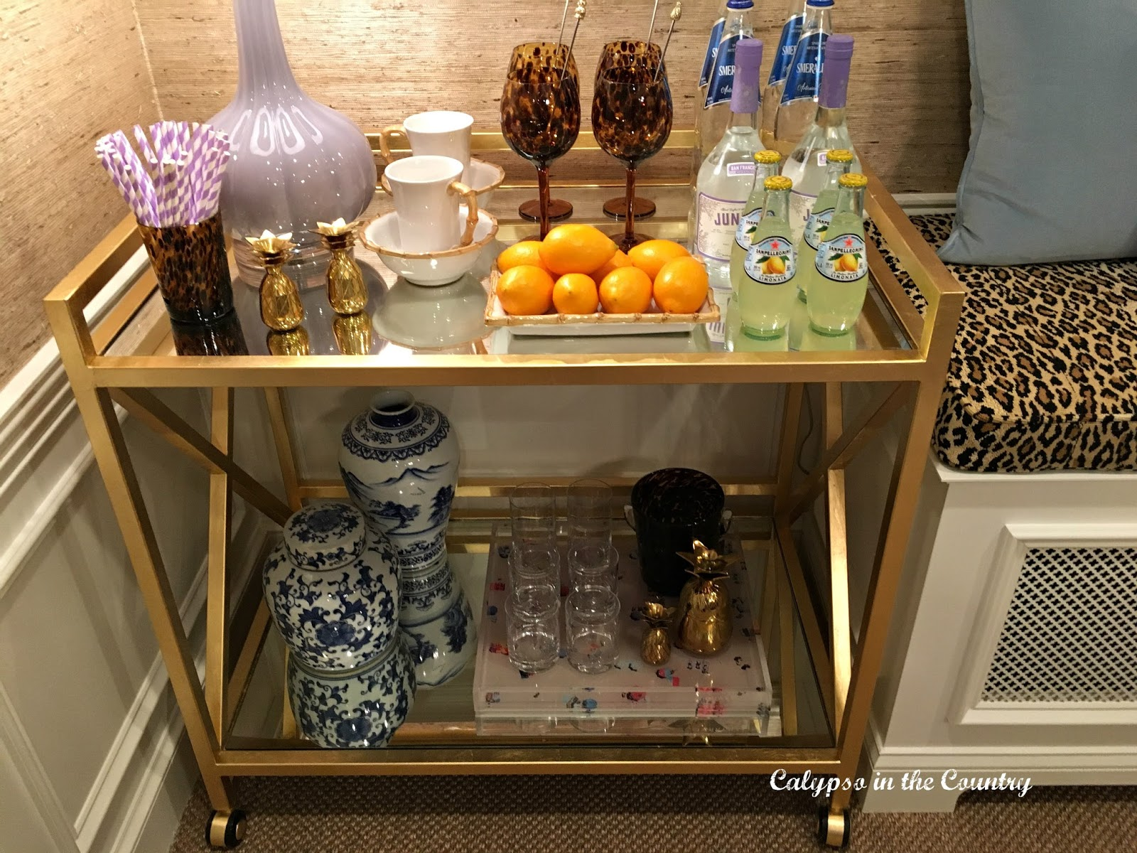Kristin Ashley Interiors - Bar Cart Inspiration from a Designer Showhouse