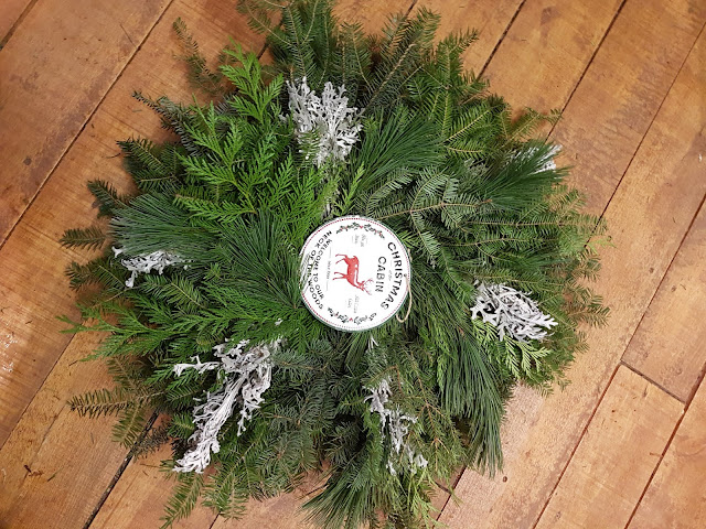 custom evergreen wreath at The Camellia, Thunder Bay