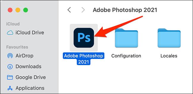 Photoshop في مجلد تطبيقات Mac
