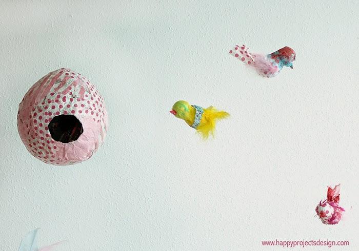 DIY nido y pájaros en cartapesta