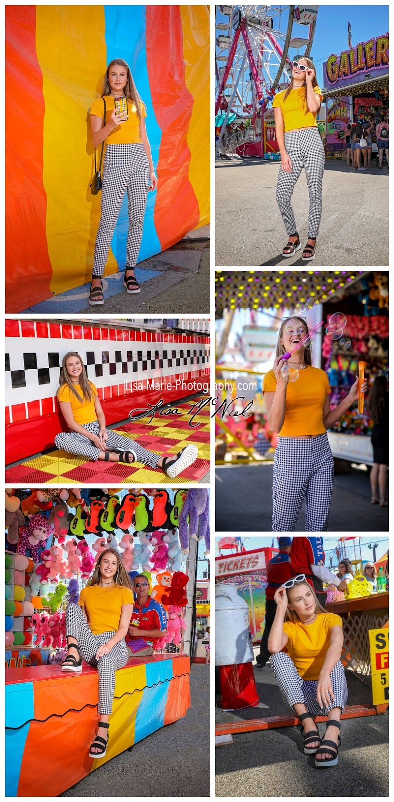 bright colored carnival with girl in senior pictures