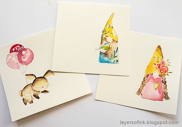 Layers of ink - Watercolor cards tutorial by Anna-Karin Evaldsson.