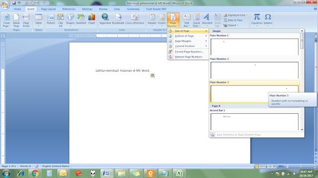 membuat halaman otomatis di office word
