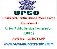 UPSC CPF Vacancy 2021 Apply Online