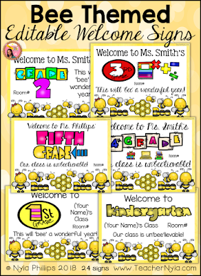 Bee themed welome posters editable