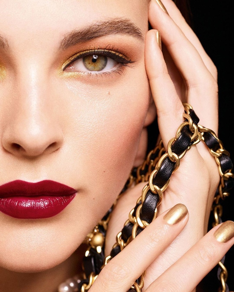 Model Vittoria Ceretti poses for Chanel Makeup Holiday 2020 campaign.