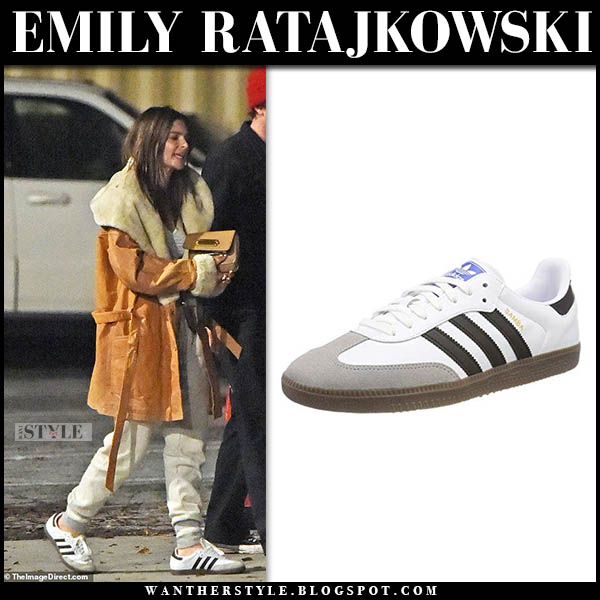 Emily Ratajkowski in brown leather coat with white adidas sneakers model street style january 7