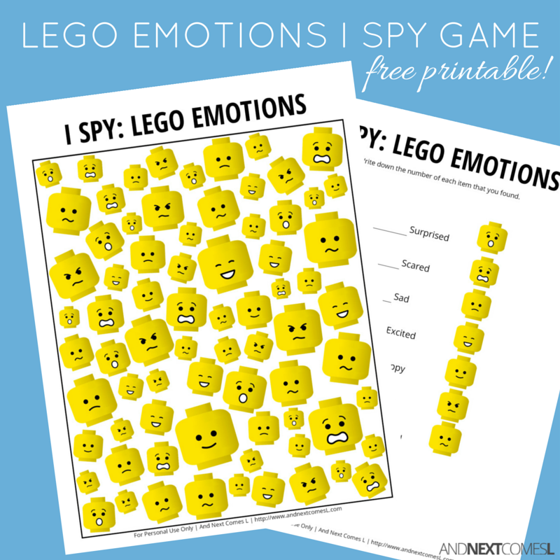 picture about Free Printable Pictures of Emotions known as LEGO Inner thoughts Themed I Spy Video game Totally free Printable for Children