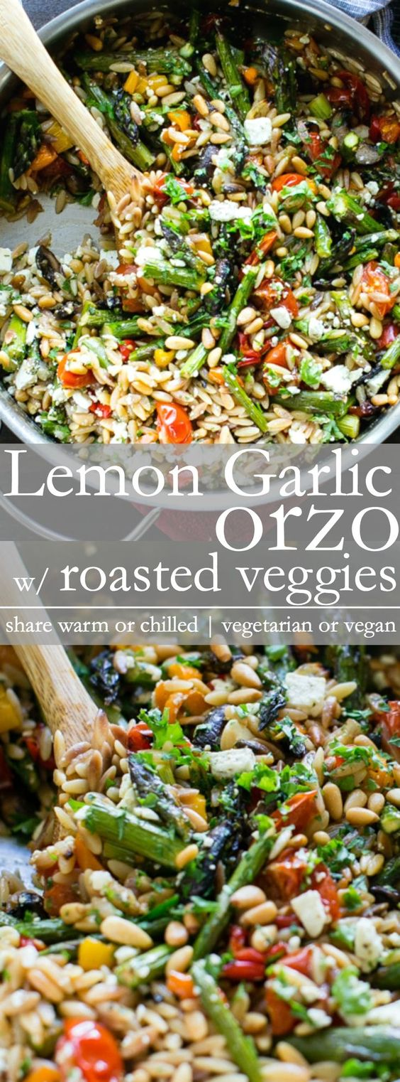 This Spring recipe is a family favorite. Lemon Garlic Orzo with Roasted Vegetables is delicious served warm or chilled and makes a fabulous addition to a picnic, or potluck. Sub in season veggies like zucchini or asparagus for the asparagus when needed. Vegetarian with Vegan Option