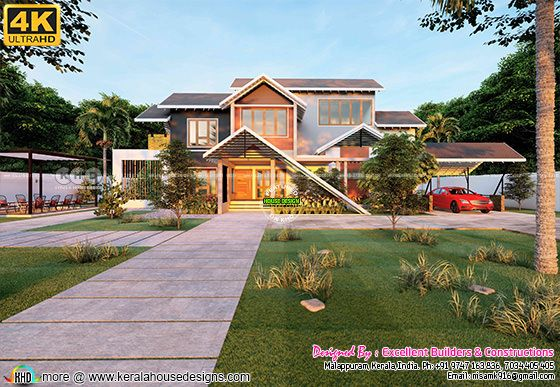 Traditional sloping roof home design