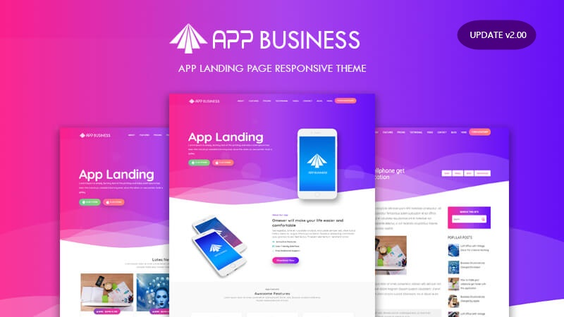 Update: App Business Landing Page v2.00 Responsive Blogger Template