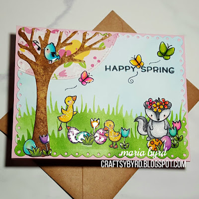 Spring glitter card with ducks, stinkin critter, flowers, blue bird and butterflies by Maria Byrd at craftsybyrd.blogspot.com