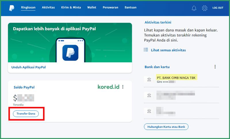transfer dana dari paypal
