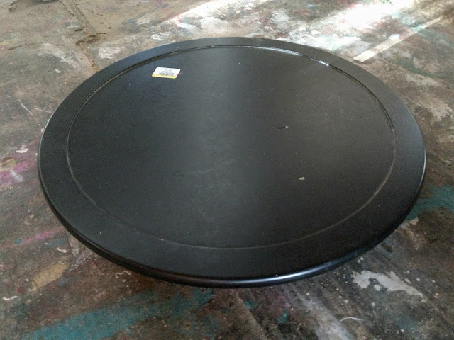 Before Picture of a Lazy Susan from the Thrift Store