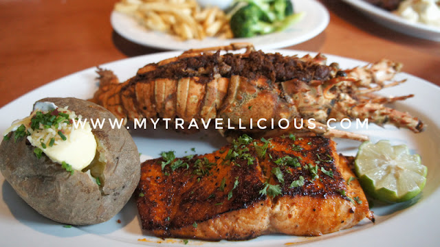 Lobster, Shrimp Pasta & Ancho Chile Rubbed Salmon Platter (RM179.90)
