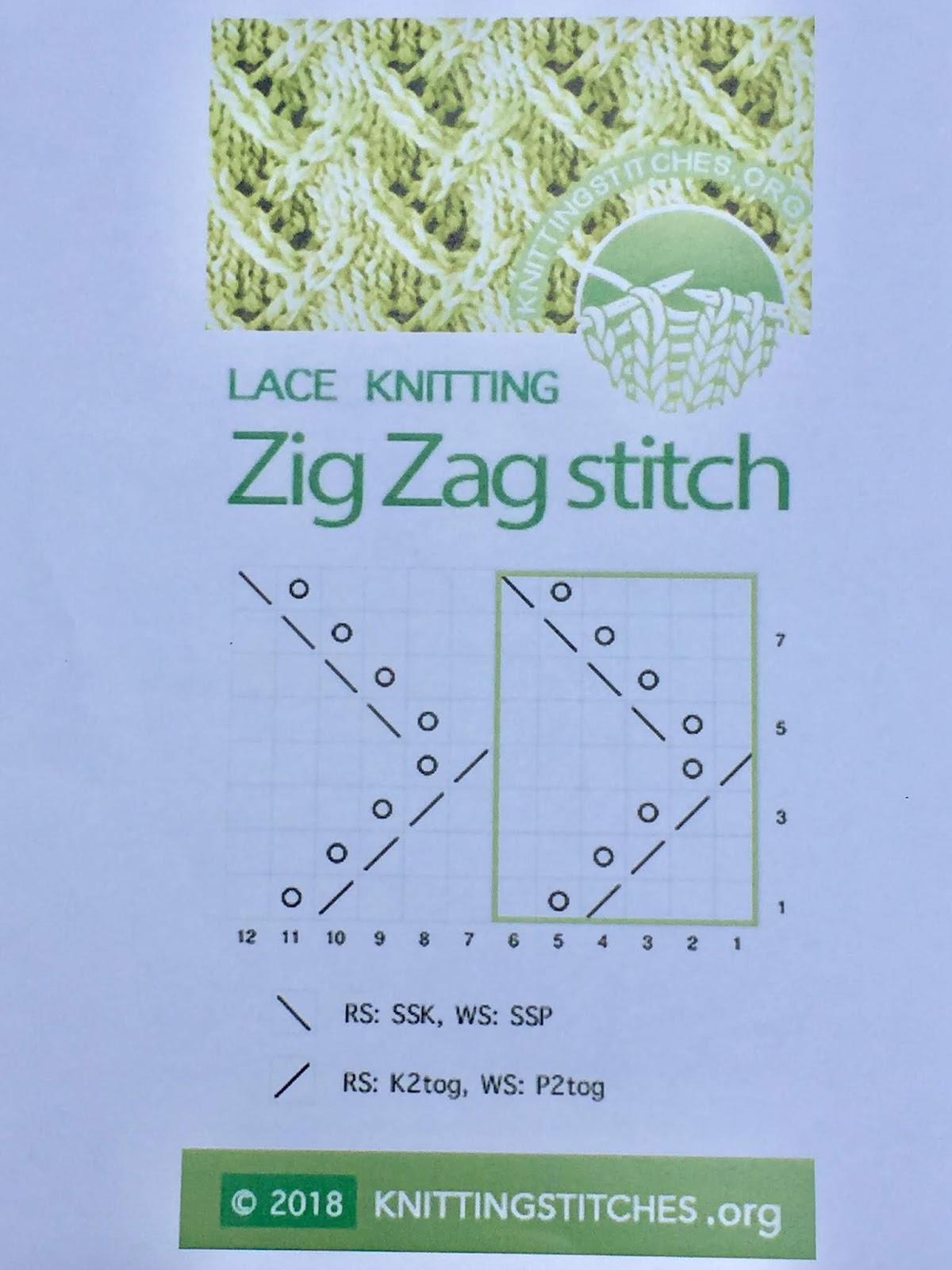 Knitting Stitches 2018 - ZigZag lace pattern