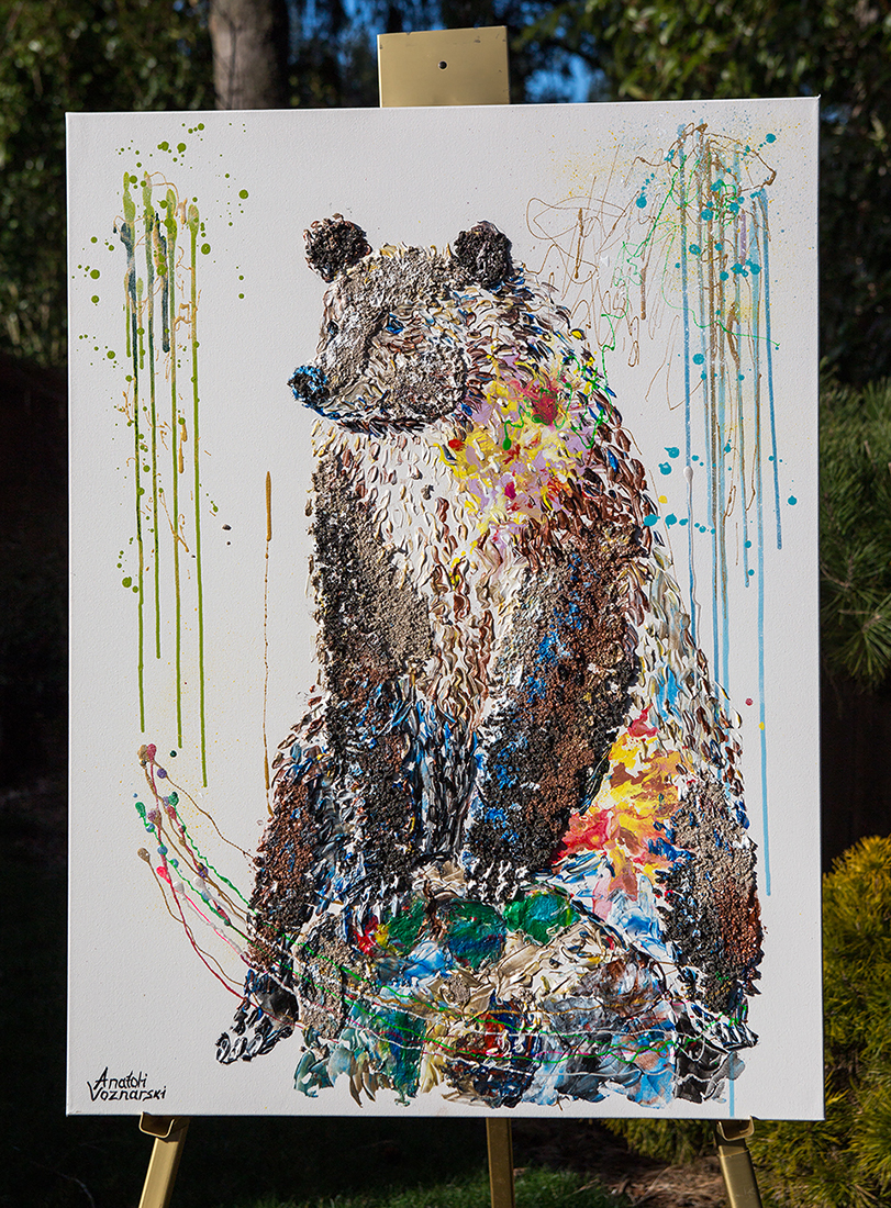 bear painting, bear mixed media, bear unique texture, Grizzly Bear painting, bear 3d painting, bear dot painting, abstract bear art,bear textured, bear wall art, bear pop art, acrylic bear,