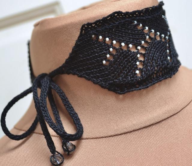 Beaded Virga Lace Choker Knitting Pattern - I-cord