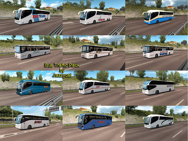 ets 2 bus traffic pack v7.7 screenshots, new buses with v7.7