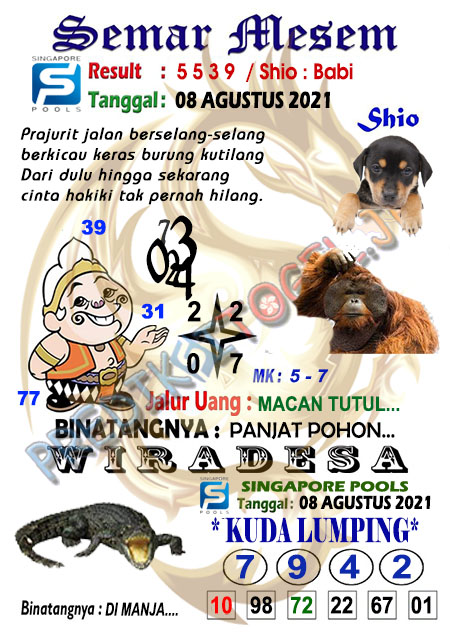 Syair Semar Mesem SGP Minggu 08-Agt-2021