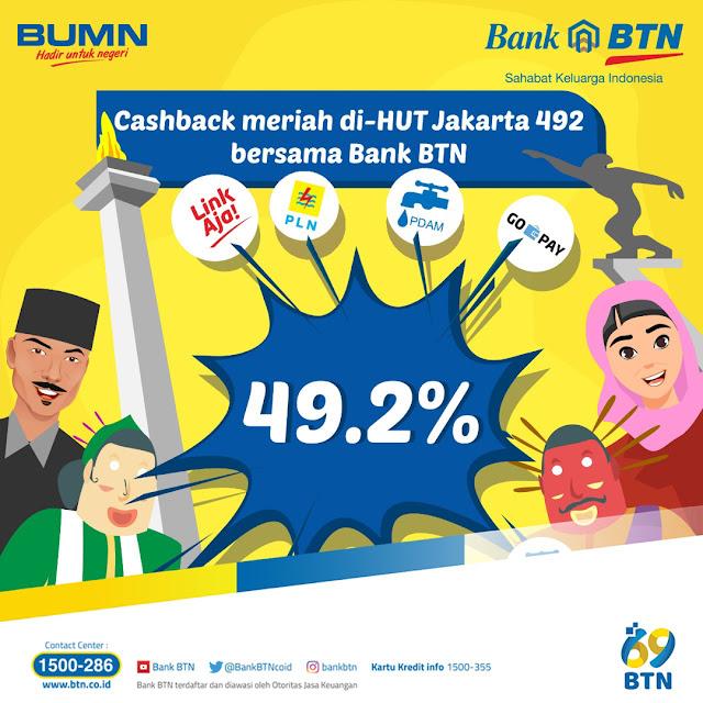 #BankBTN - #Promo Cashback Meriah di HUT JAKARTA Ke 492