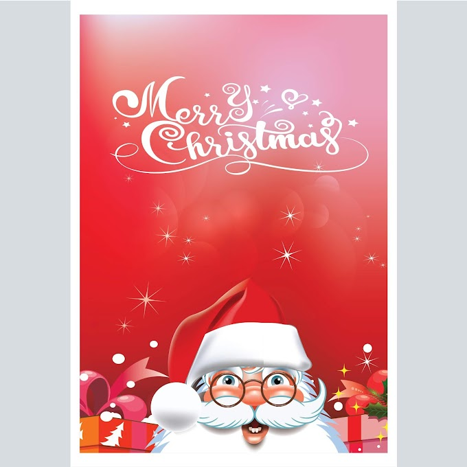 merry christmas poster, Beautiful christmas card free vector