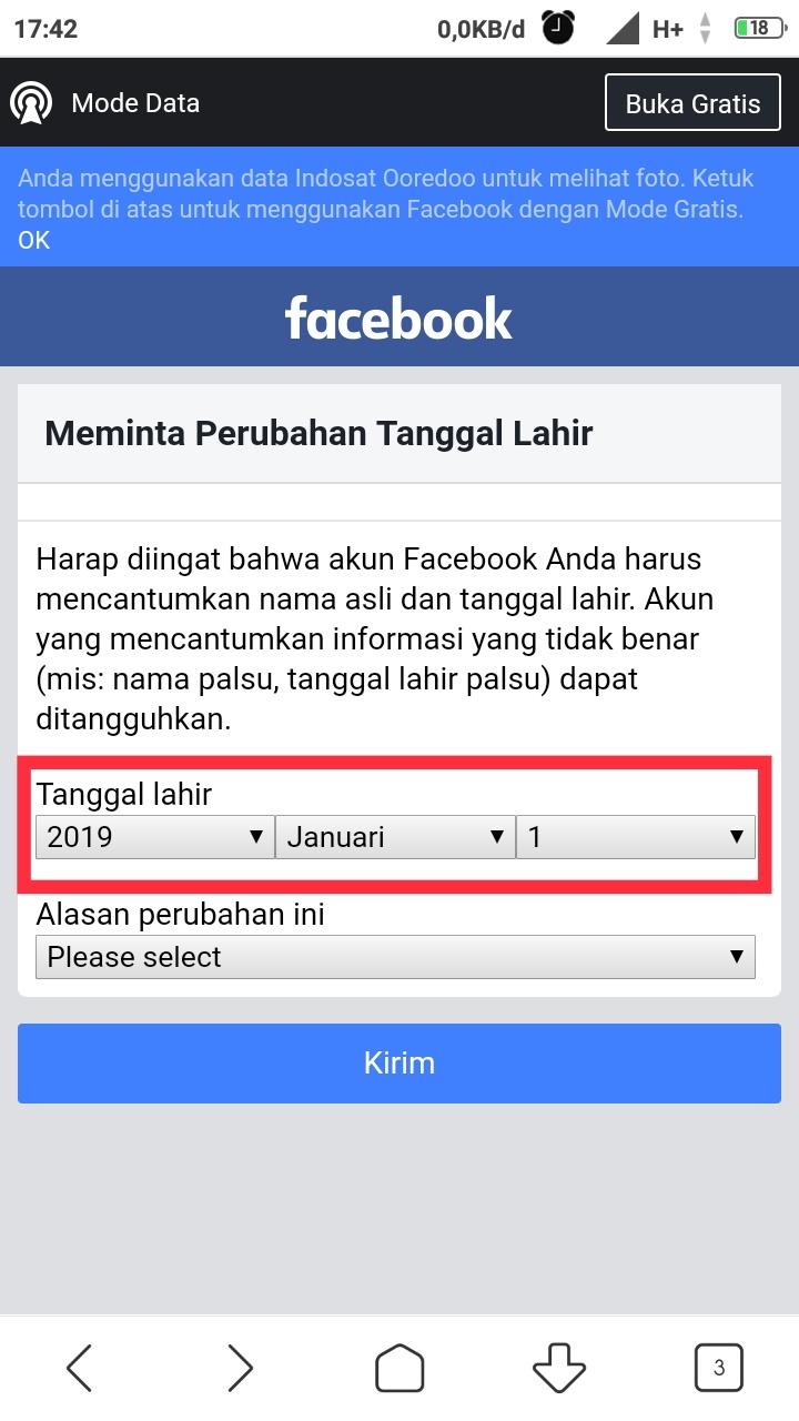 Merubah ttl facebook