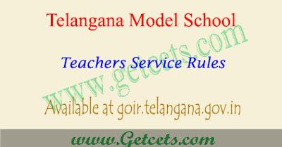 Telangana model school teachers service rules 2019