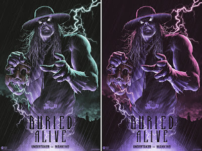 """Buried Alive: The Undertaker vs Mankind"" WWE Screen Print by Matt Ryan Tobin x Mondo"