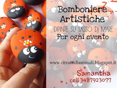 Coccinelle dipinte su sassi bomboniere