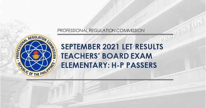 H-P Passers Elementary: September 2021 LET Result