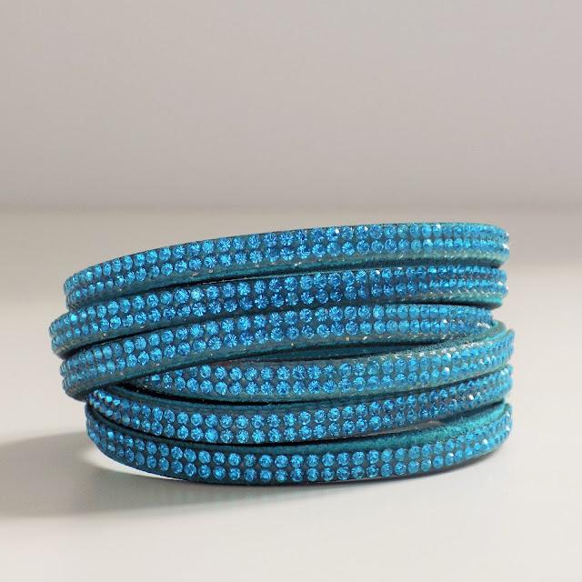 Turquoise diamante wrap bracelet