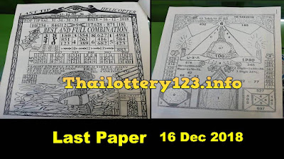 Thai Lottery Last Paper Full Magazine Tips  16 December 2018