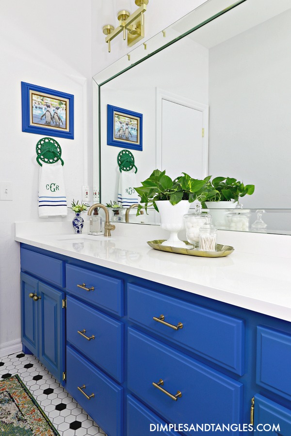 monogrammed towel, party at the parker, behr mondrian blue, delta trinsic faucet, liberty hardware