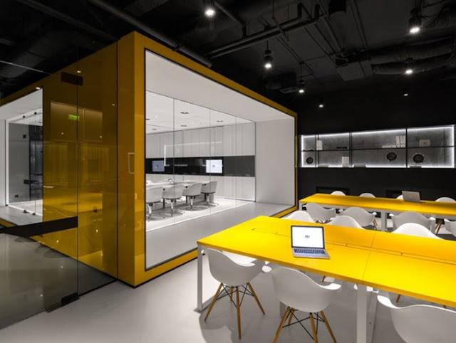 Thiết kế văn phòng kích thích sự sáng tạo với màu vàng là điểm nhấn