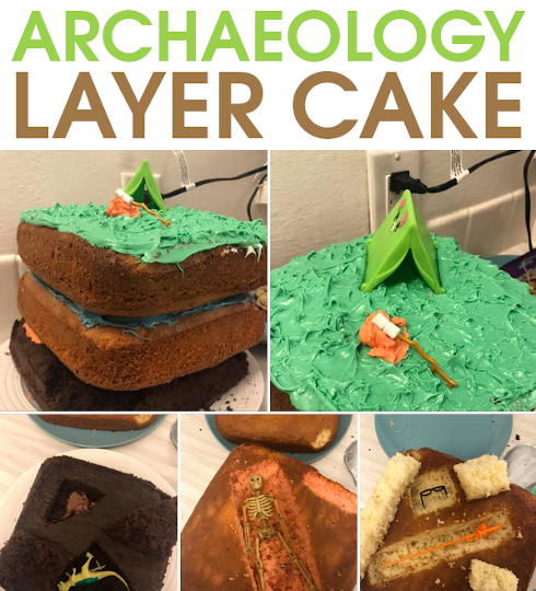 Do an archaeological dig through a layer cake.  Great for homeschool history lessons, or archeaology or paleontology parties.  Eat your way through history!