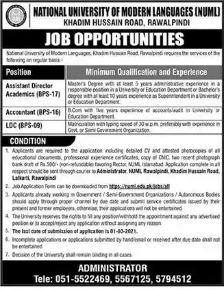 Latest Jobs in Pakistan in NUML University Rawalpindi Jobs 2021