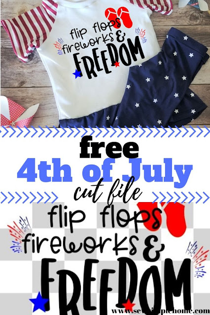 Free flip flop 4th of July cut file for Cricut or Silhouette.