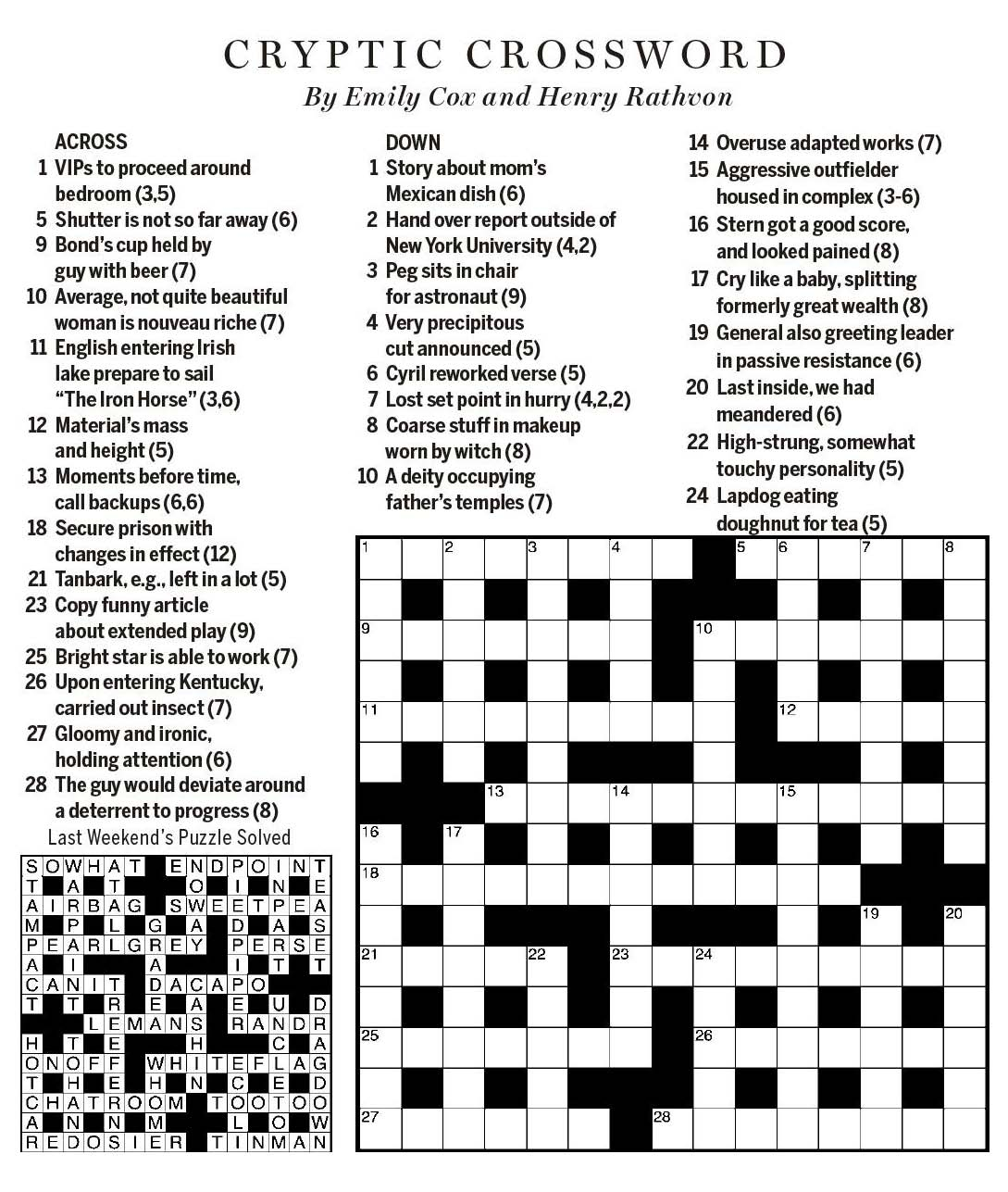 National Post Cryptic Crossword Forum Saturday May 5 2018 In For The Duration