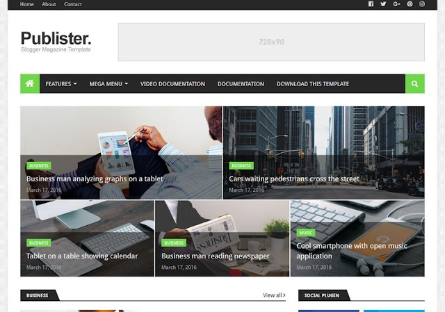 Publister Blogger Template Free Download 2019