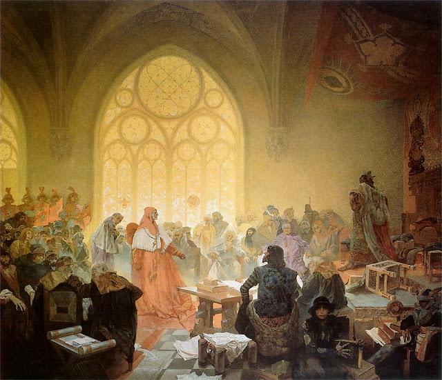 Альфонс Муха - Славянский эпос. Гуситский король Иржи Подебрадский. 1925