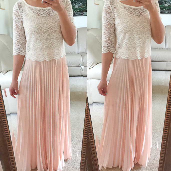 57555515d6c51 White House Black Market petite pleated maxi skirt Urban Outfitters cropped lace  top