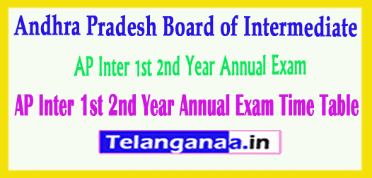 AP Inter 1st 2nd Year Annual Exam Time Table
